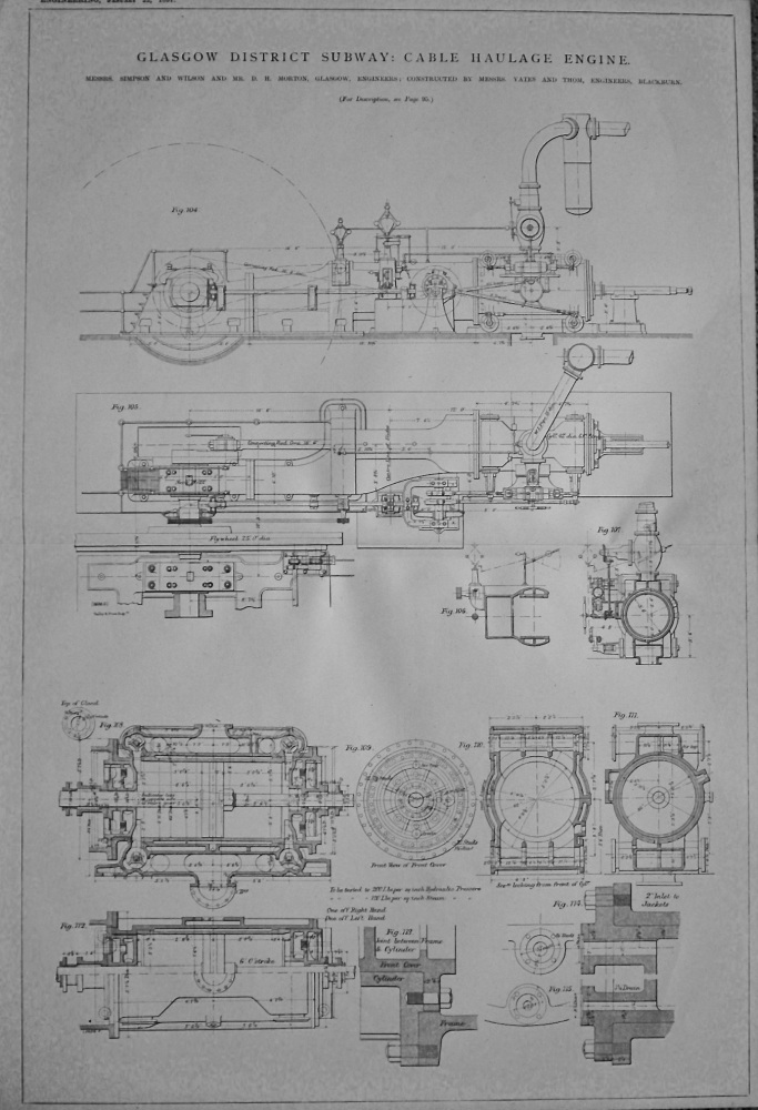 Glasgow District Subway : Cable Haulage Engine. 1897.