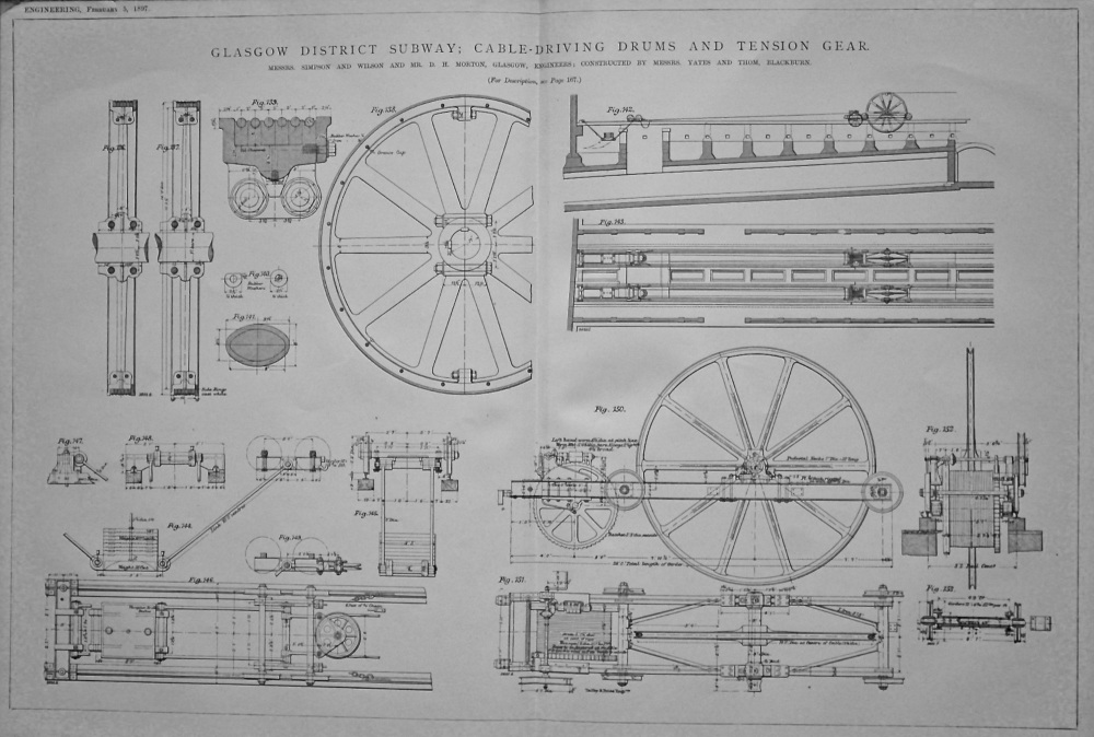 Glasgow District Subway : Cable-Driving Drums and Tension Gear.  1897.