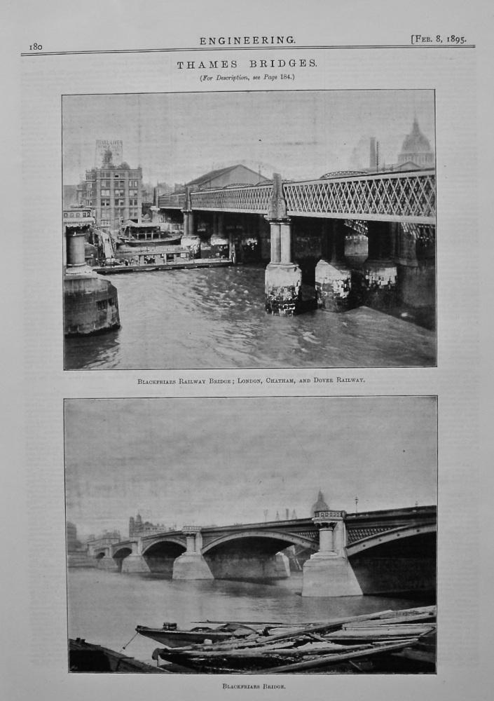 Thames Bridges : Blackfriars Bridge. 1895.