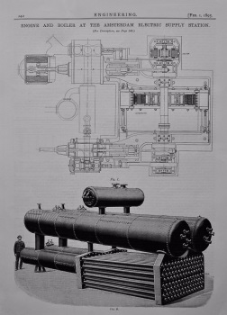 Engine and Boiler at the Amsterdam Electric Supply Station. 1895.