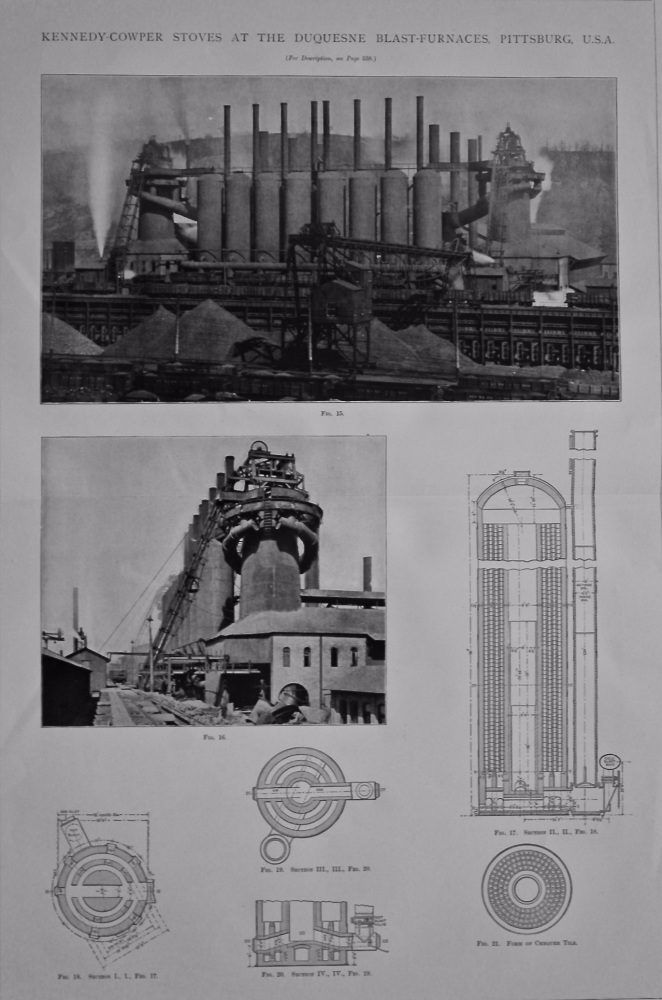 Kennedy-Cowper Stoves at the Duquesne Blast-Furnaces, Pittsburg. U.S.A. 1897.
