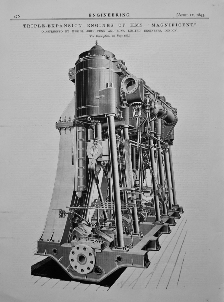 """Triple-Expansion Engines of H.M.S. """"Magnificent."""" 1895."""