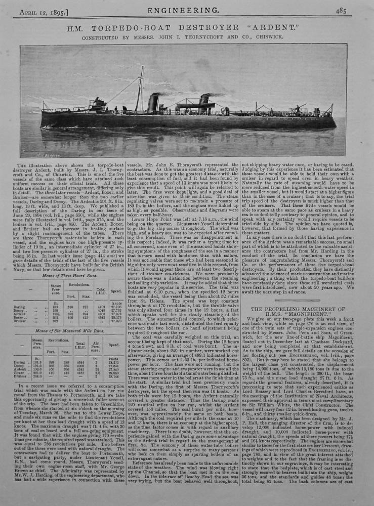 "H.M. Torpedo-Boat Destroyer ""Ardent."" 1895."