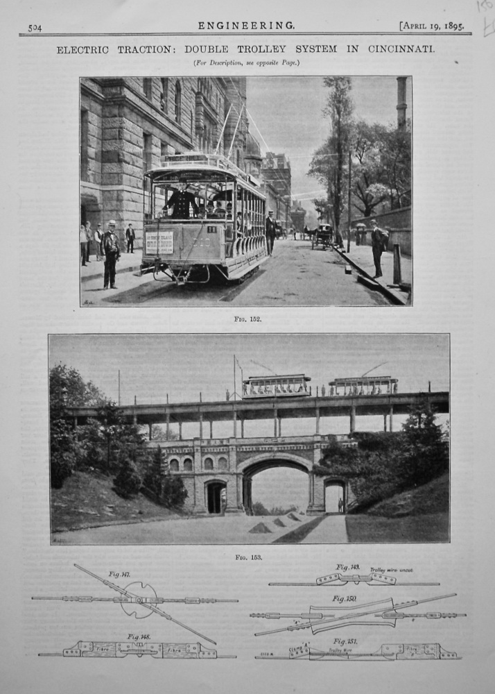 Electric Traction : Double Trolley System in Cincinnati. 1895.