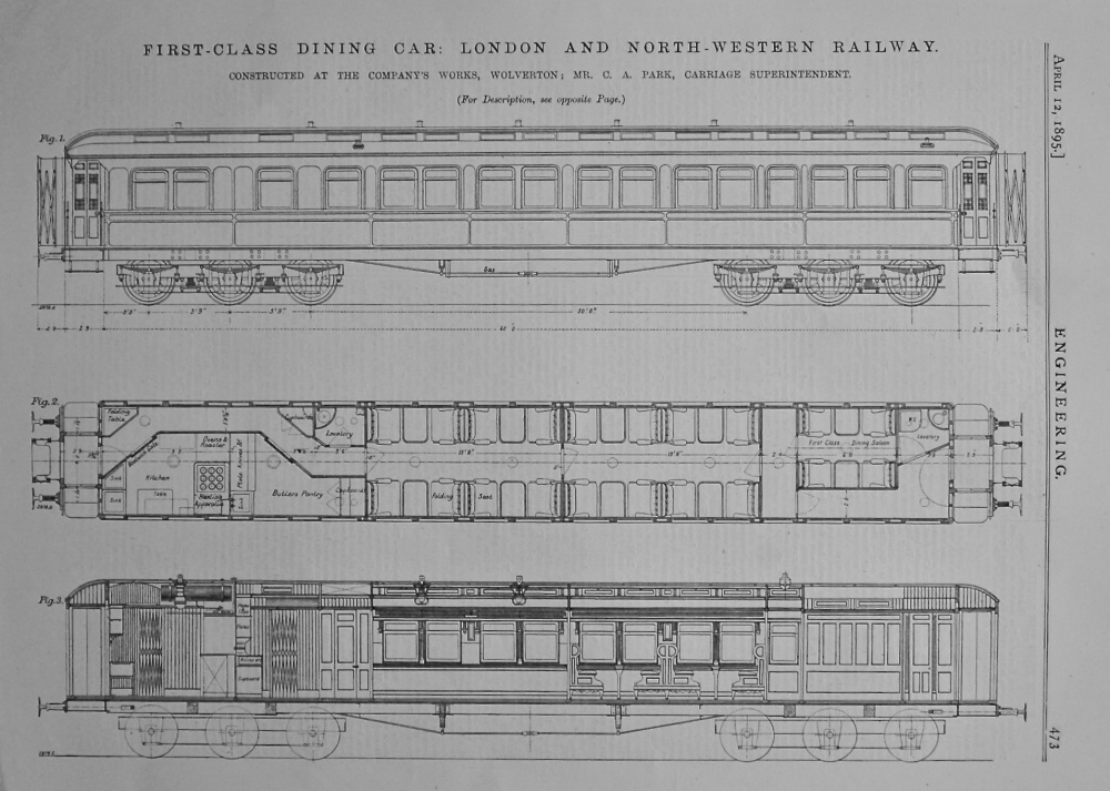 First-Class Dining Car : London and North-Western Railway. 1895.