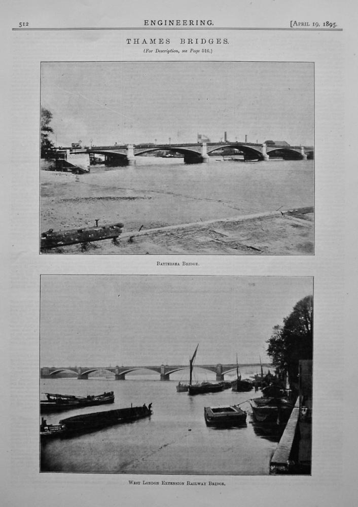 Thames Bridges. Battersea Bridge, & West London Extension Railway Bridge.  1895.