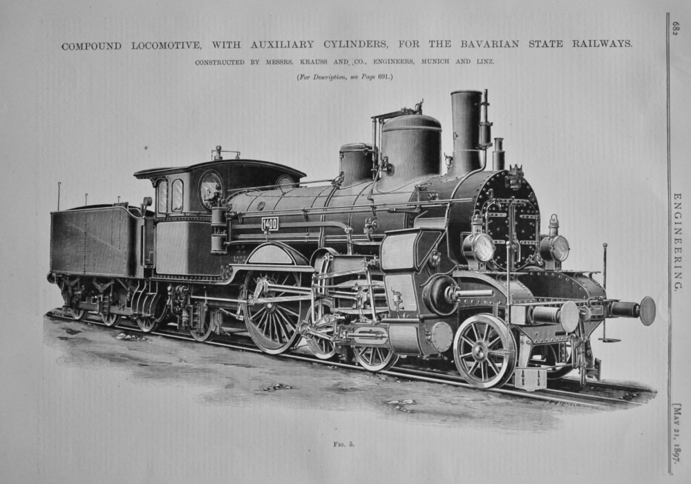 Compound Locomotive with Auxiliary Cylinders for the Bavarian State Railway