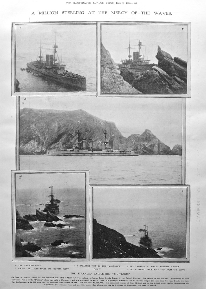 """A Million Sterling at the Mercy of the Waves. The Stranded Battle-Ship """"Montagu."""" 1906."""