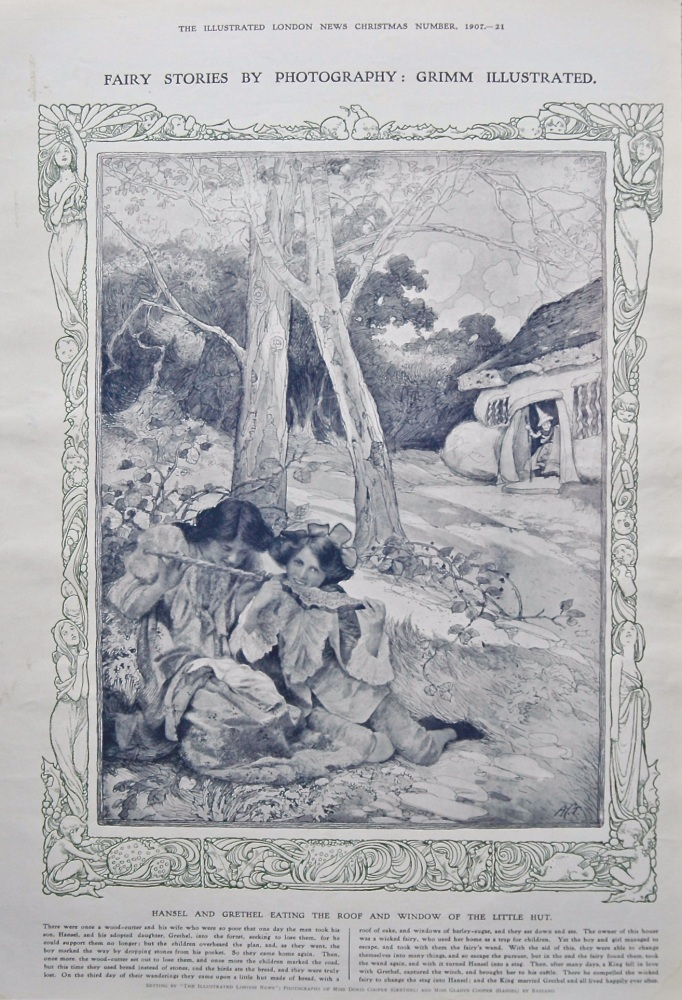 Fairy Stories by Photography : Grimm Illustrated.  Hansel and Grethel Eating the Roof and Window of the Little Hut. 1907.