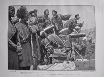 With the Tibet Frontier Commission : Tibetans Watching the Firing of a Maxim.  1904.