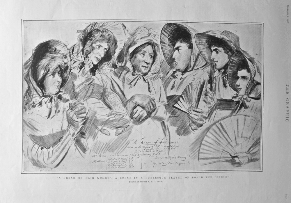 """""""A Dream of Fair Women"""" : A Scene in a Burlesque Played on Board the """"Ophir"""". 1901."""