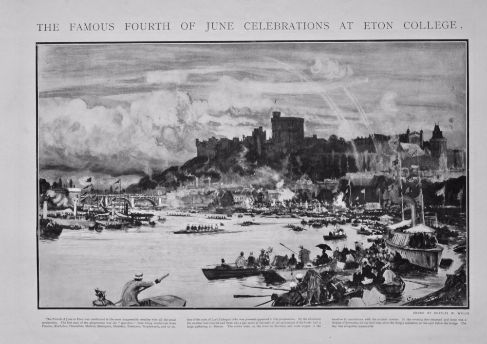The Famous Fourth of June Celebrations at Eton College. 1902.