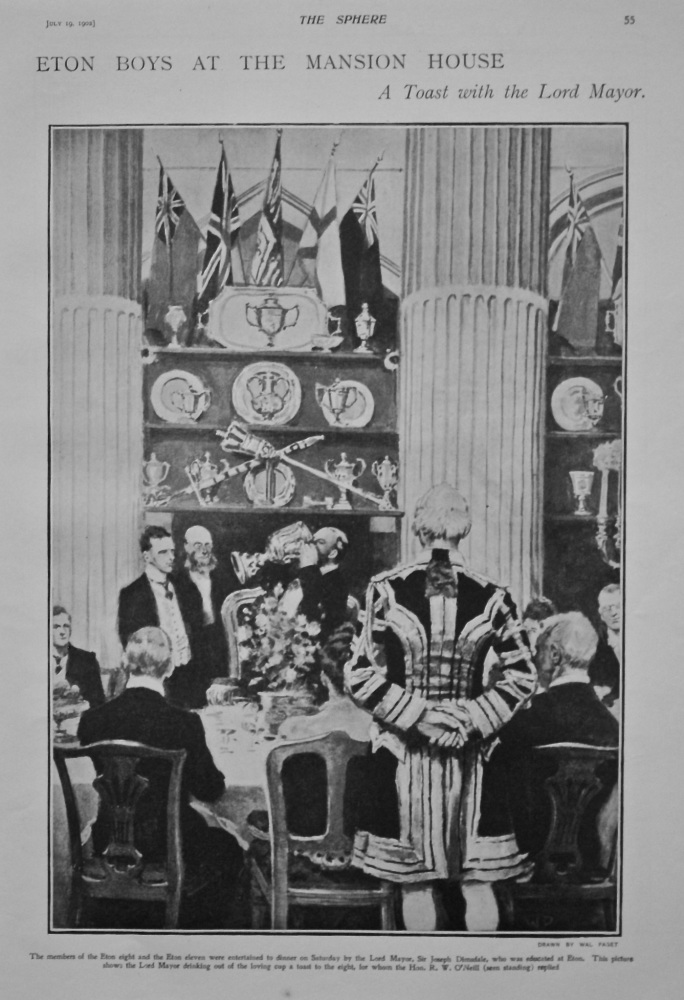 Eton Boys at the Mansion House : A Toast with the Lord Mayor. 1902.