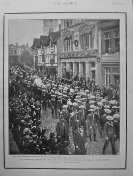 An Unexpected Privilege for the Navy : Bluejackets Dragging the Gun-Carriage through Windsor. (Funeral of Queen Victoria) 1901.