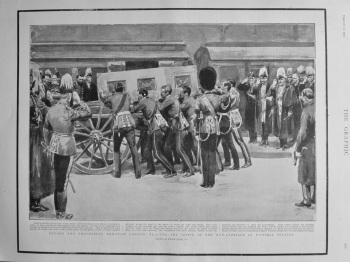 Before the Procession through London : Placing the Coffin on the Gun-Carriage at Victoria Station. 1901.