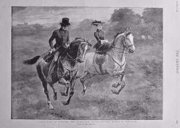 Happy Days at Windsor : The Queen and Prince Consort Riding in the Park. 1901.