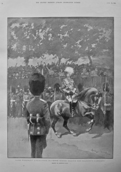 Lord Wolseley (Commander-in-Chief) Riding before Her Majesty's Carriage. 1897.