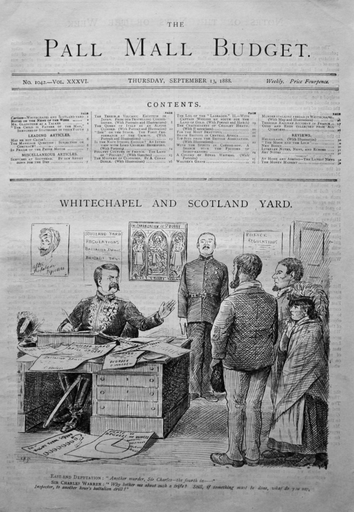 "The Pall Mall Budget. (Front Page). September 13th, 1888. ""Whitechapel and Scotland Yard."""