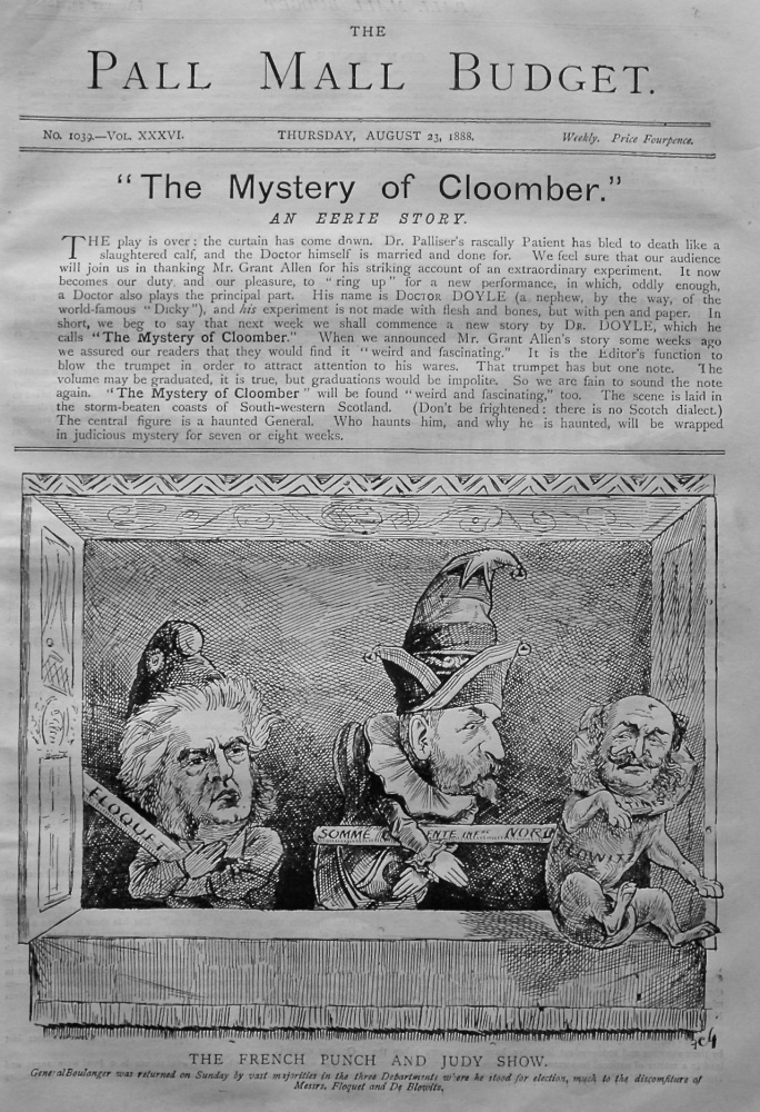 "The Pall Mall Budget. ""The Mystery of Cloomber."" (Front Page) 1888."