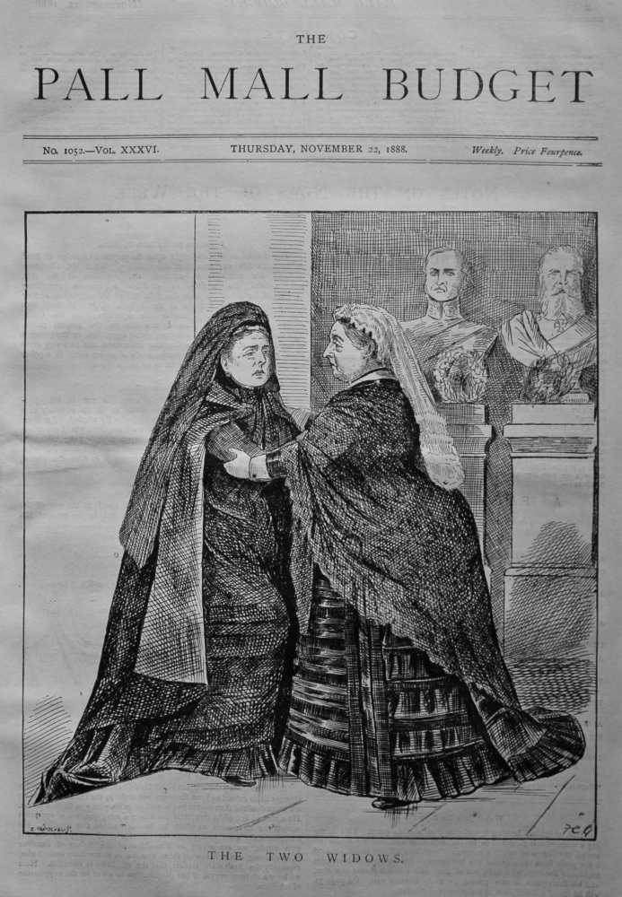 The Pall Mall Budget. November 22nd, 1888. (Front Page) The Two Widows.