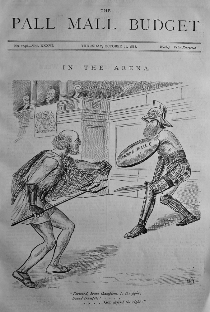 "The Pall Mall Budget, October 25th, 1888 (Front Page)    ""In The Arena."""