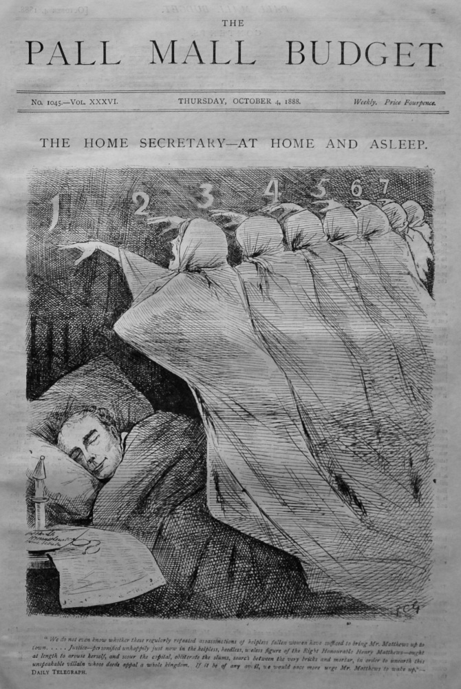 The Pall Mall Budget. (Front Page) The Home Secretary - At Home and Asleep. 1888.