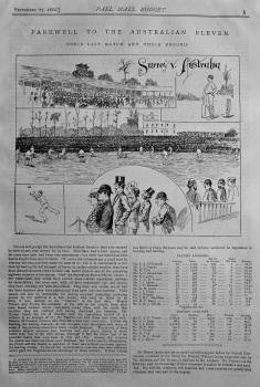 Farewell to the Australian Eleven. There Last Match and Their Record. (Surrey v. Australia.) 1888.