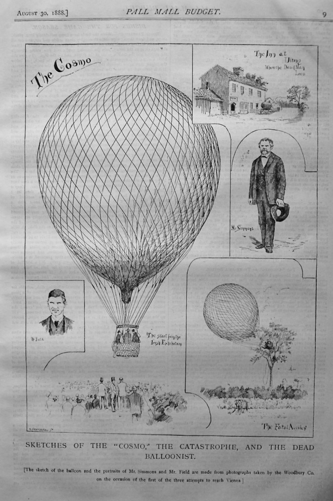 "Sketches of the ""Cosmo,"" the Catastrophe, and the Dead Balloonist. 1888."