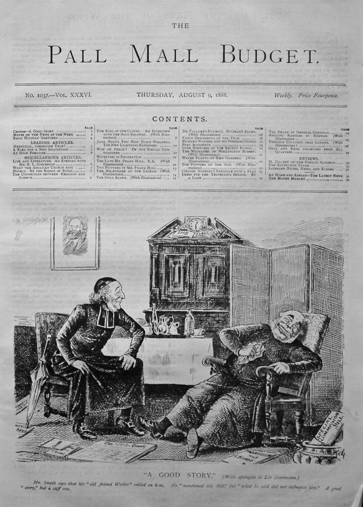 "The Pall Mall Budget, August 9th, 1888. (Front Page)  ""A Good Story."""