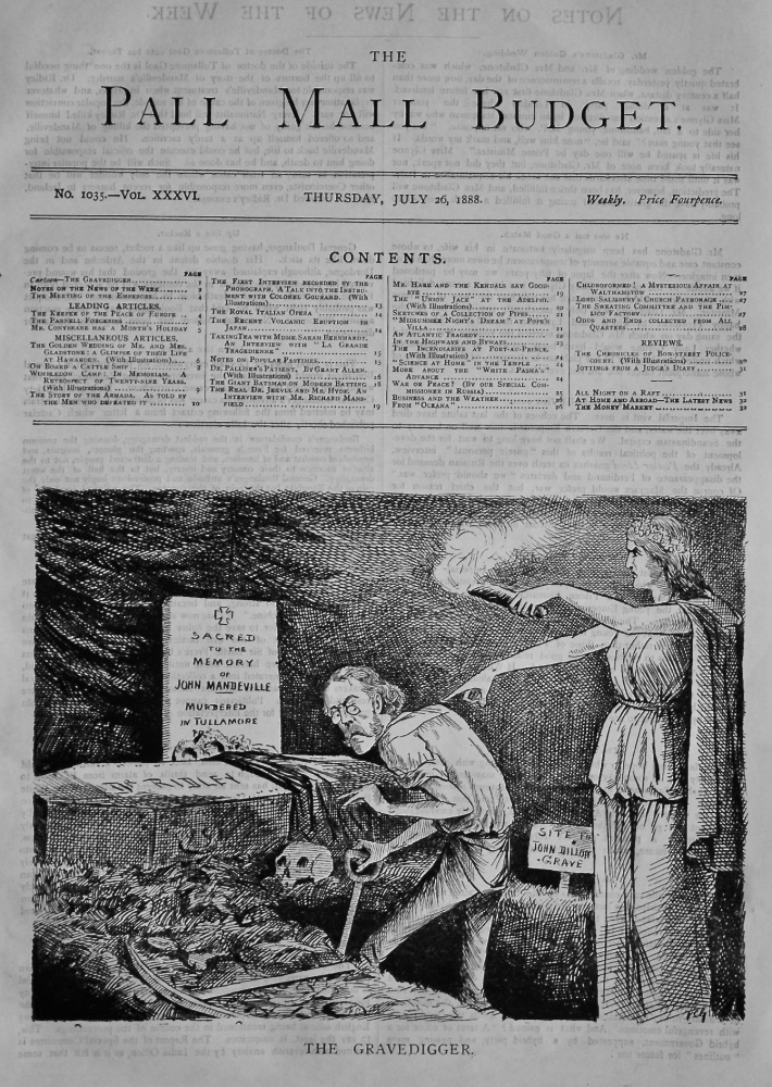 The Pall Mall Budget, July 26th, 1888, (Front Page)   The Gravedigger.