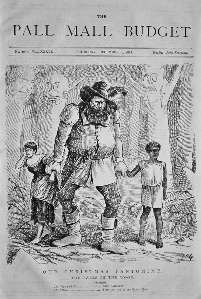 The Pall Mall Budget, December 27th, 1888.  (Front Page)  Our Christmas Pantomime. The Babes in the Wood.