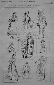 A Page of Fancy Dresses. Ideas for Fancy dress from the Salon 1888.