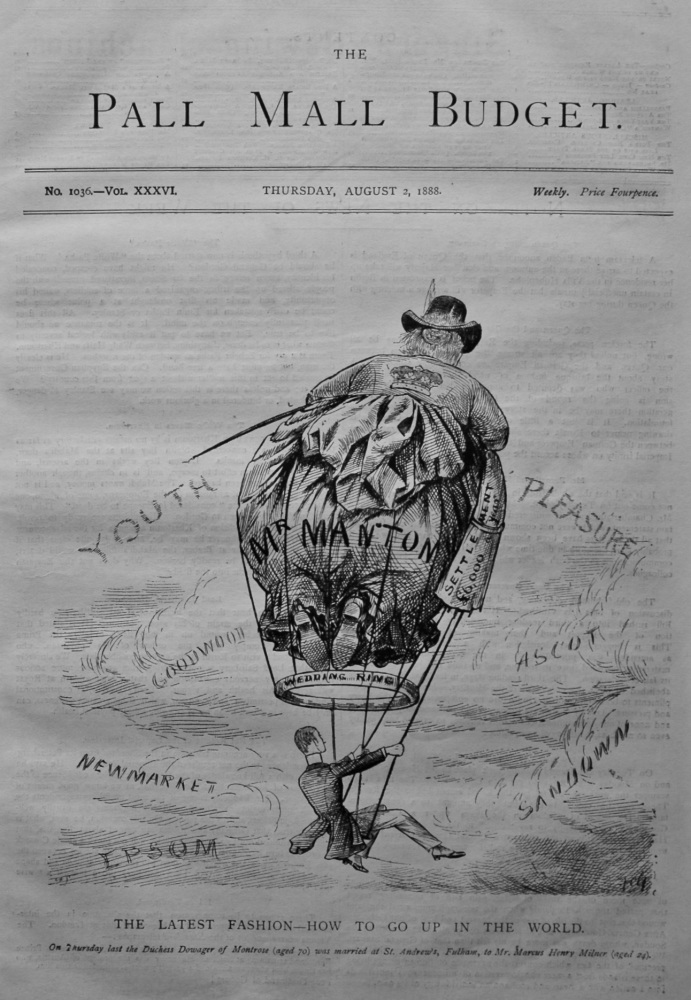 The Pall Mall Budget, August 2nd, 1888. (Front Page) The Latest Fashion - How to go Up in the World.
