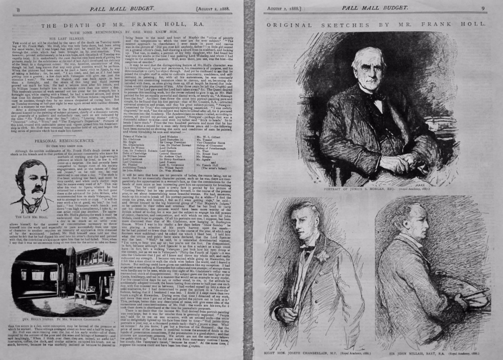 The Death of Mr. Frank Holl, R.A.  With some Reminiscencs by one who knew him. 1888.