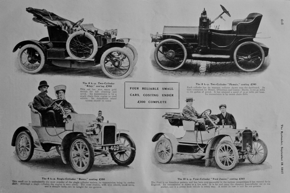 Four Reliable Small Cars Costing Under £200 Complete.  1907.