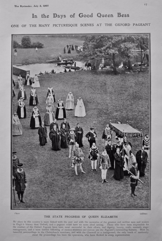 In the Days of Good Queen Bess : One of the many Picturesque Scenes at the Oxford Pageant. 1907.
