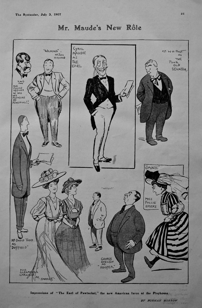 """Mr. Maude's New Role : Impressions of """"The Earl of Pawtucket,"""" the new American farce at the Playhouse.  1907."""