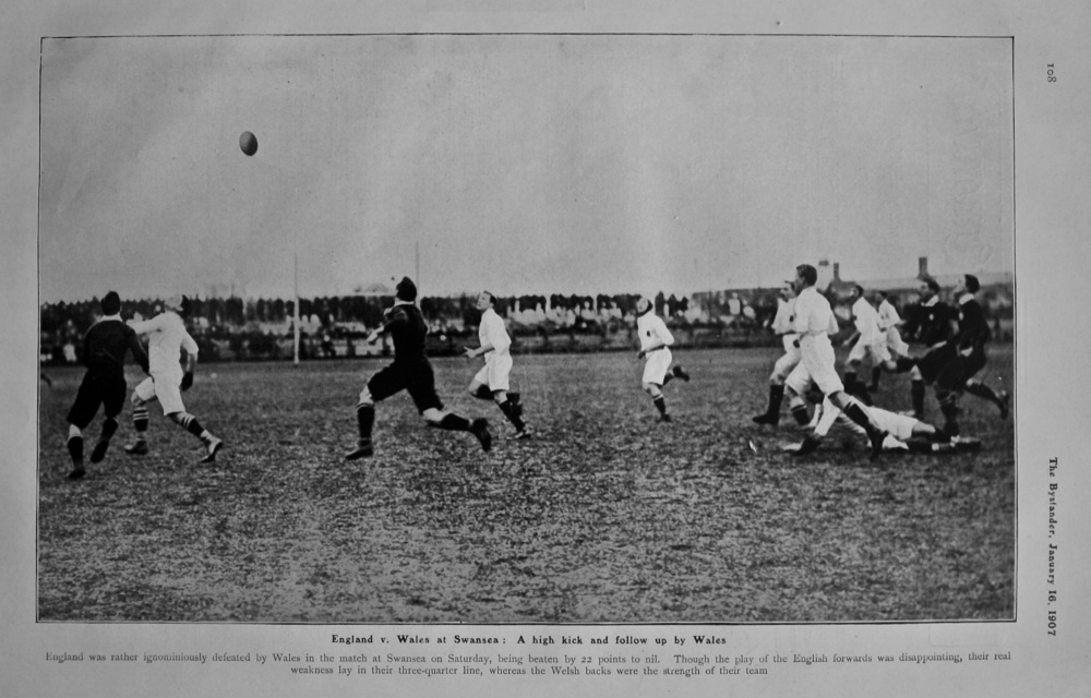 England v. Wales at Swansea : A high kick and follow up by Wales. (Rugby) 1907.