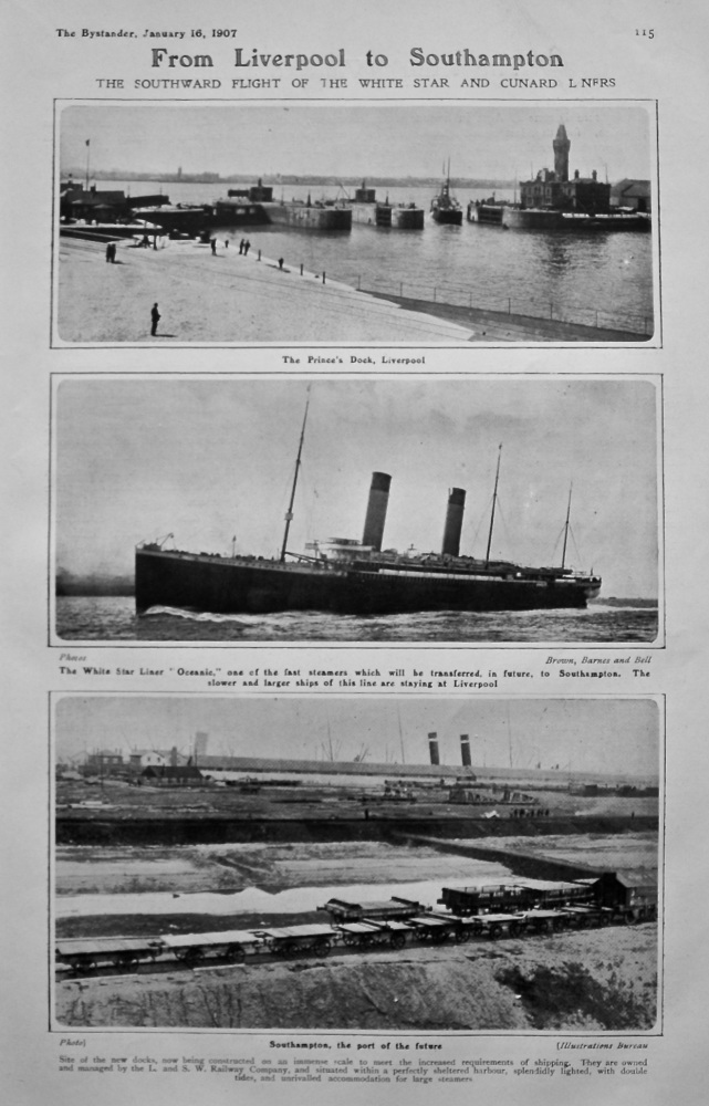 From Liverpool to Southampton : The Southward Flight of the White Star and Cunard Liners. 1907.