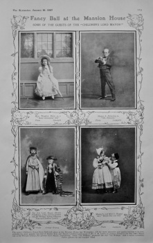 """Fancy Ball at the Mansion House : Some of the guests of the """"Children's Lord Mayor"""". 1907."""