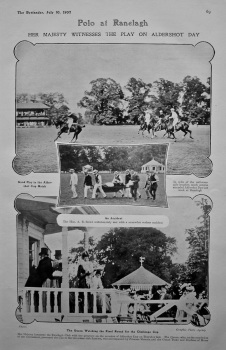 Polo at Ranelagh : Her Majesty Witnesses the Play on Aldershot Day. 1907.