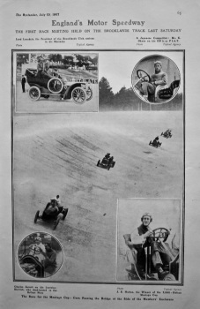 England's Motor Speedway : The First Race Meeting Held on the Brooklands Track last Saturday. 1907.