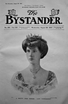 The Bystander, August 28th, 1907. (Front Page) A Pretty Irish Peeress : Lady Powerscourt.