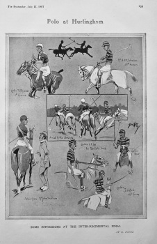 Polo at Hurlingham : Some Impressions at the Inter-Regimental Final.  1907.