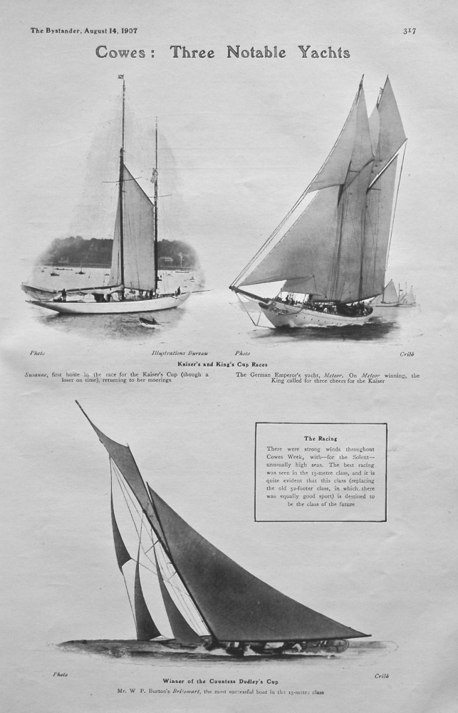 Cowes : Three Notable Yachts. 1907.