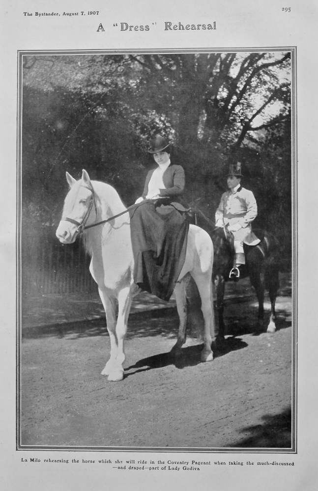 "A ""Dress"" Rehearsal : La Milo rehearsing the horse which she will ride in the Coventry Pageant when taking the much-discussed-and draped-part of Lady"
