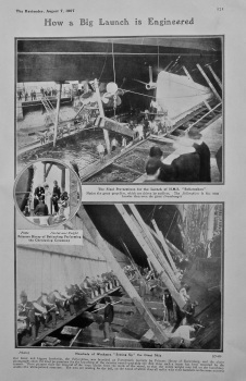How a Big Launch is Engineered. (Launch of the Bellerophon at Portsmouth). 1907.