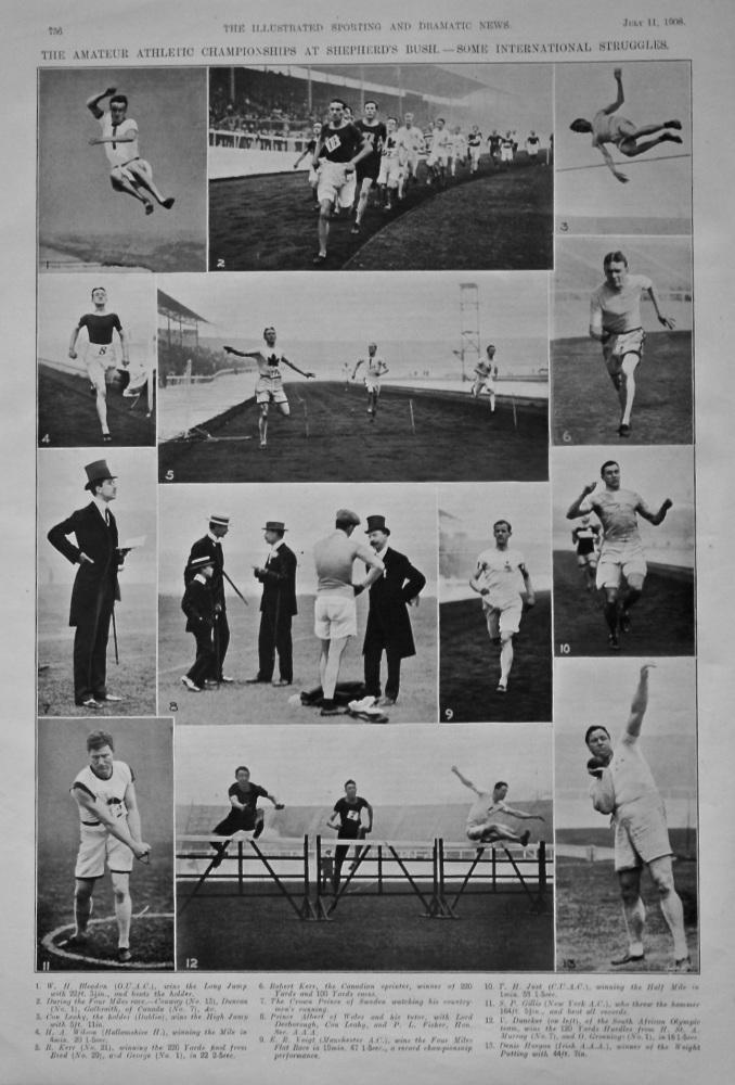 The Amateur Athletic Championships at Shepherd's Bush.- Some international Struggles. 1908.