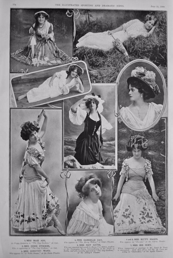 Actresses from the Stage at this time. 1908.