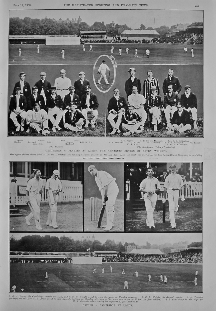 Gentlemen v. Players at Lord's.- The Amateurs Beaten by Seven Wickets. 1908.